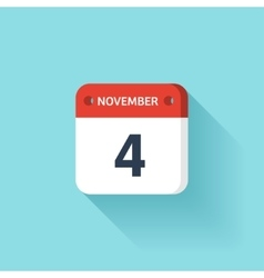 November 4 Isometric Calendar Icon With Shadow vector