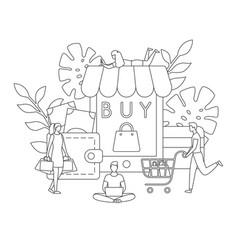 online shop buy sale order app line concept vector image