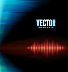 Orange sound waveform on polar lights background vector