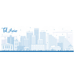 Outline tel aviv skyline with blue buildings vector