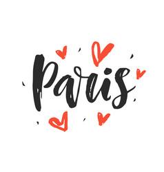 paris modern city hand written brush lettering vector image