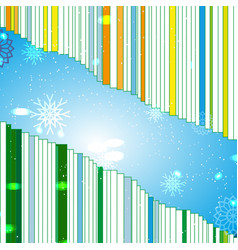 pattern with snow flakes on bar code background vector image