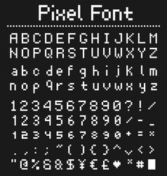Pixel game font retro styled vector