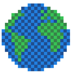 pixelated earth globe icon vector image