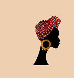 Portrait beautiful african woman in striped turban vector