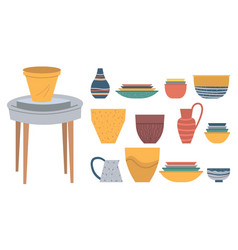 pots handmade products amphora and urn or jar vector image
