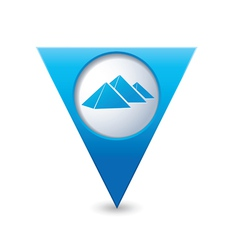 Pyramid icon on map pointer blue vector