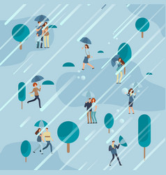 rainy day in park with people umbrellas vector image