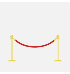 Red rope barrier golden stanchions turnstile vector image