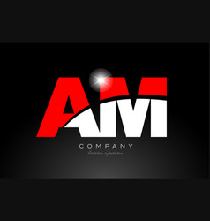 Red white color letter combination am a m vector