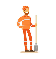 road worker in orange uniform with shovel part vector image
