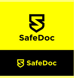 safe documents logo black letter s like shield vector image