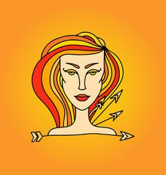 sagittarius girl portrait zodiac fire sign vector image