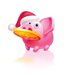 Santa piggy bank vector image