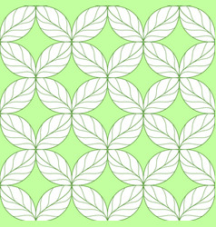 Seamless repeating linear leaves pattern on green vector