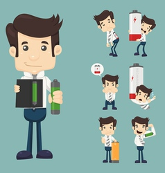 Set of businessman with battery vector