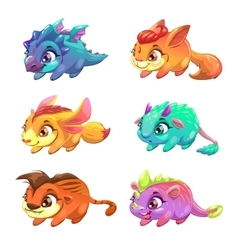 Set of cute cartoon little monsters vector