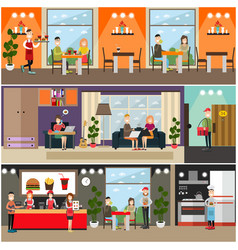 set of fast food flat posters banners vector image