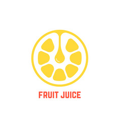 simple yellow fruit juice logo vector image