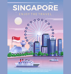 singapore travel poster vector image