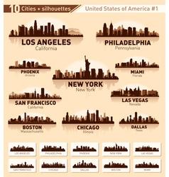 skyline city set 10 cities usa - 1 vector image