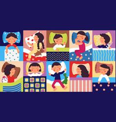 sleeping kids peaceful childhood kid sleep vector image