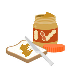 Slice toast bread with peanut butter and knife vector
