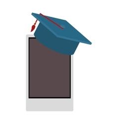 Smartphone and graduation cap vector