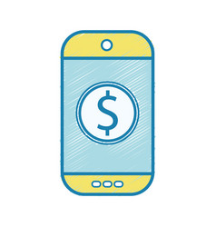 Smartphone technology with money app icon vector