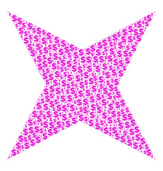 Sparkle star collage of dollar and dots vector