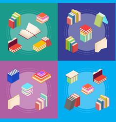 stack of color books banner card set isometric vector image
