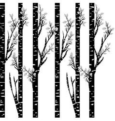 stylized black birch on white background vector image