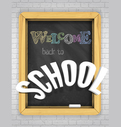 textured blackboard on a brick wall welcome vector image