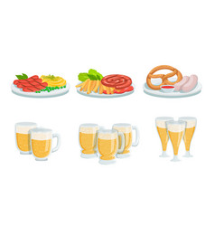traditional oktoberfest food and beer set glass vector image