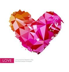 Triangle love heart vector