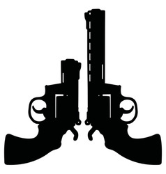 Two black revolvers vector