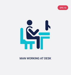 Two color man working at desk icon from behavior vector