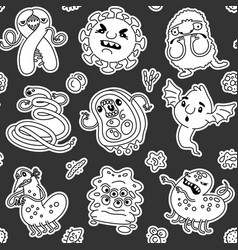 viruses and bacteria linear seamless pattern on vector image