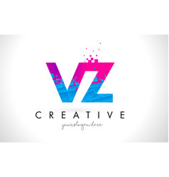 Vz v z letter logo with shattered broken blue vector