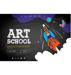 Web page design template for art school vector