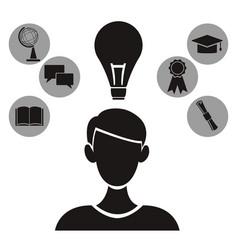 white background with monochrome profile person vector image