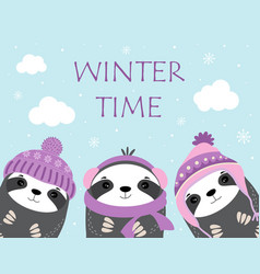 winter time with animals vector image
