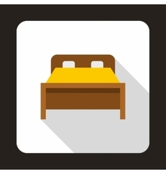 Wood double bed icon flat style vector