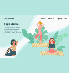 yoga school studio landing page young girls in vector image