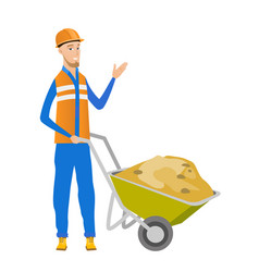 Young caucasian builder giving thumb up vector
