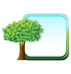 A big green tree beside an empty template vector image vector image