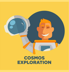 cosmos exploration promo poster with astronaut in vector image