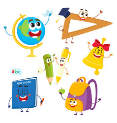 cute and funny school item characters with smiling vector image vector image