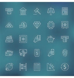 Money Finance Banking Line Icons Set vector image vector image