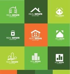 Real estate logo flat set icon design vector image